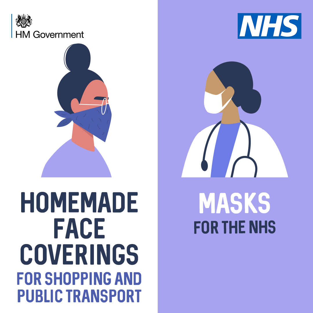 Home made Face coverings for shopping and public transport Masks for the NHS  Picture One lady wearing a face covering a doctor wearing a face mask