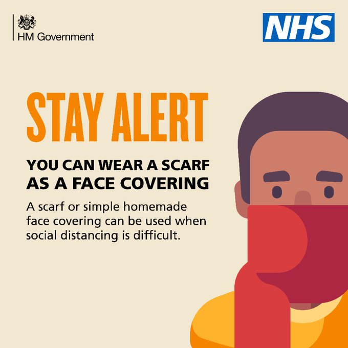 Picture of a man wearing a scarf as a fave covering- Stay alert, You can Wear a scarf as a face covering, A scarf or simple homemade face covering can be used when social distancing is difficult
