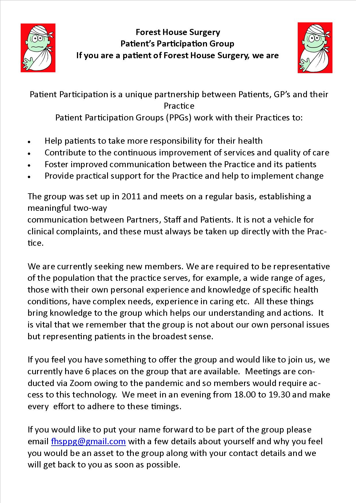 Patient Participation Group recruitment